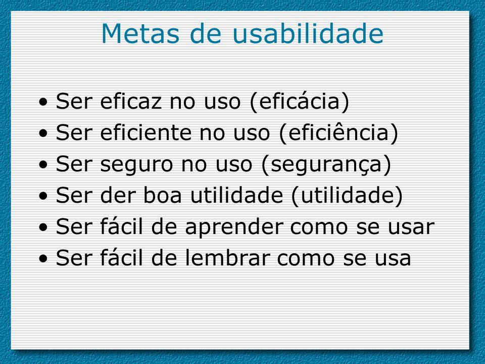 Metas de usabilidade Ser eficaz no uso (eficácia)