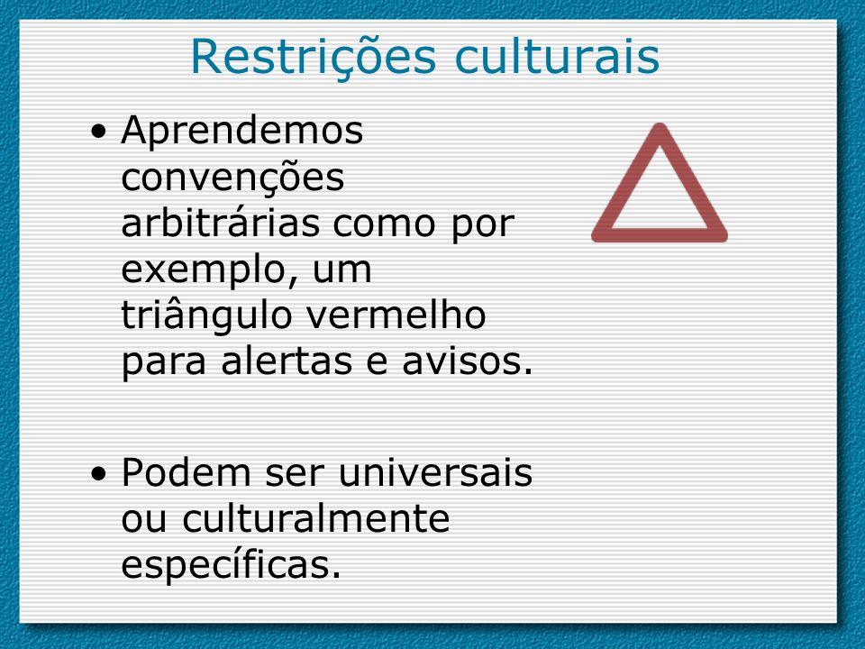 Restrições culturais Aprendemos convenções arbitrárias como por exemplo, um triângulo vermelho para alertas e avisos.