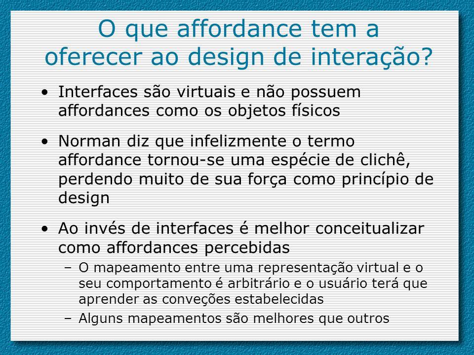 O que affordance tem a oferecer ao design de interação
