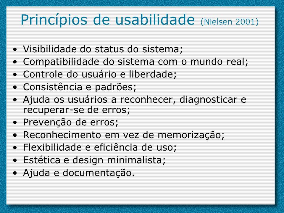 Princípios de usabilidade (Nielsen 2001)