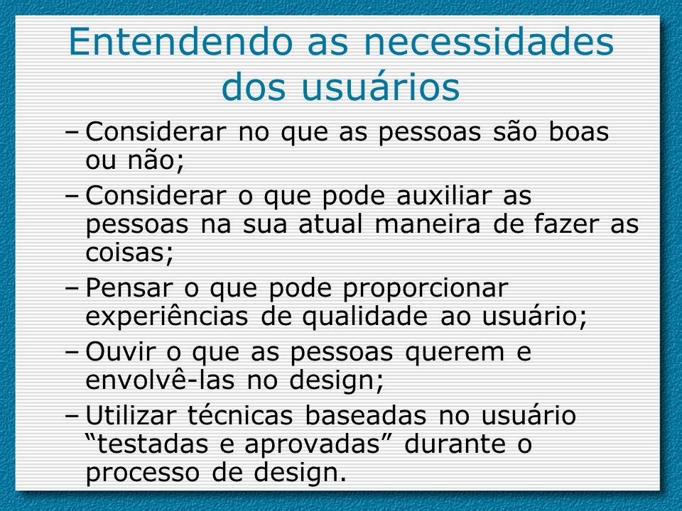 Entendendo as necessidades dos usuários