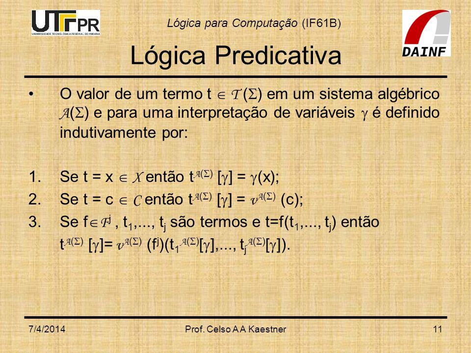 Lógica Predicativa O valor de um termo t  T () em um sistema algébrico A() e para uma interpretação de variáveis  é definido indutivamente por: