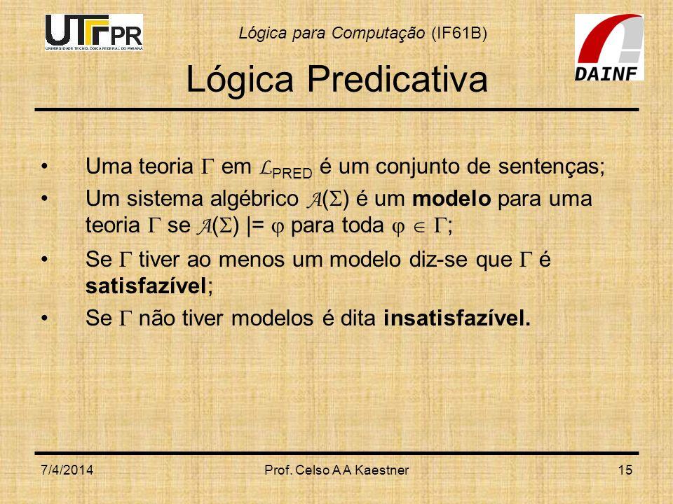 Lógica Predicativa Uma teoria  em LPRED é um conjunto de sentenças;