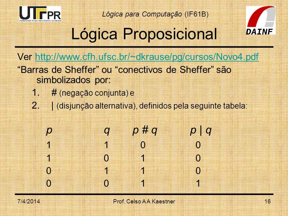 Lógica Proposicional p q p # q p | q 1 1 0 0