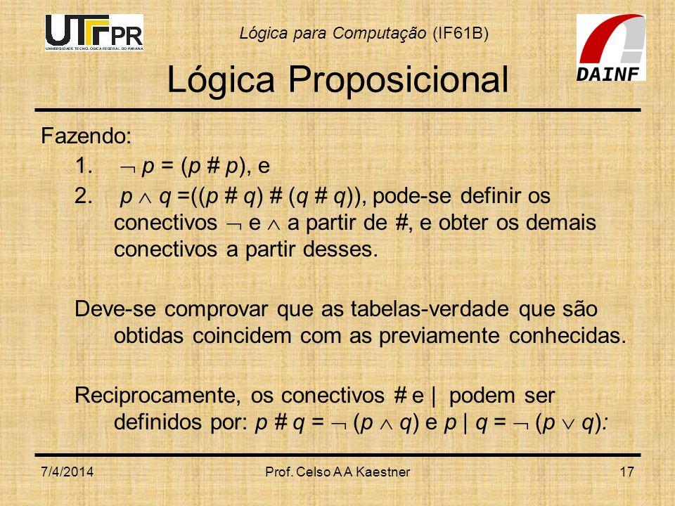 Lógica Proposicional Fazendo:  p = (p # p), e