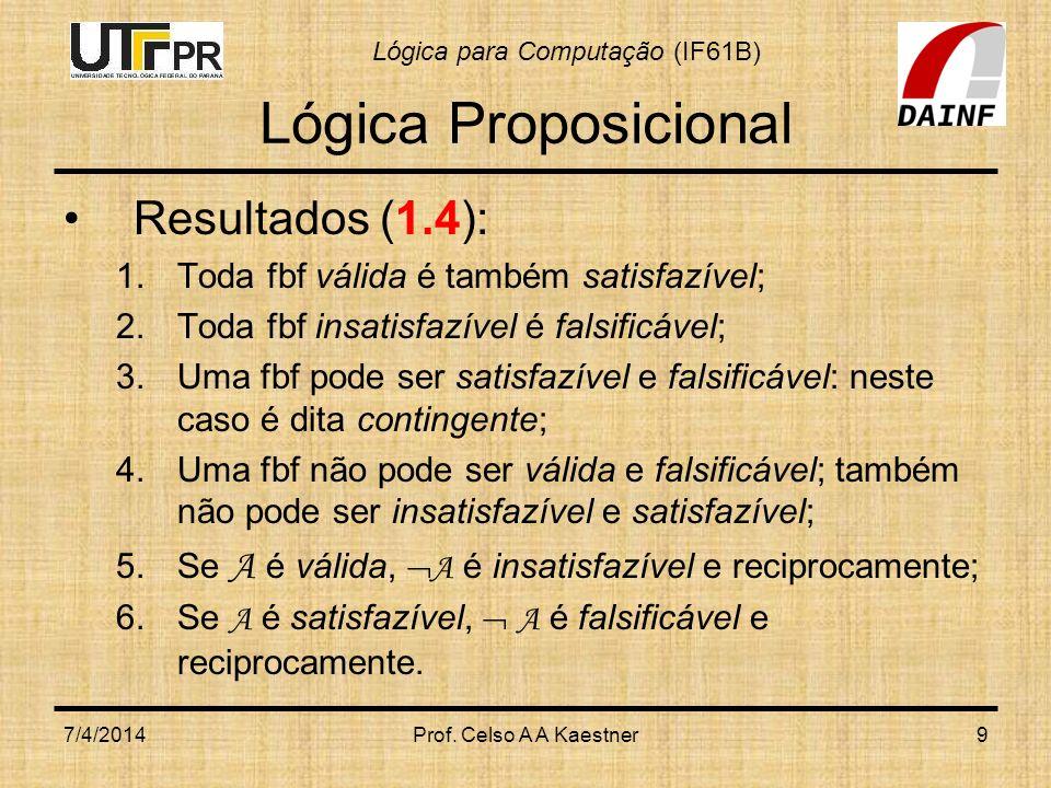 Lógica Proposicional Resultados (1.4):