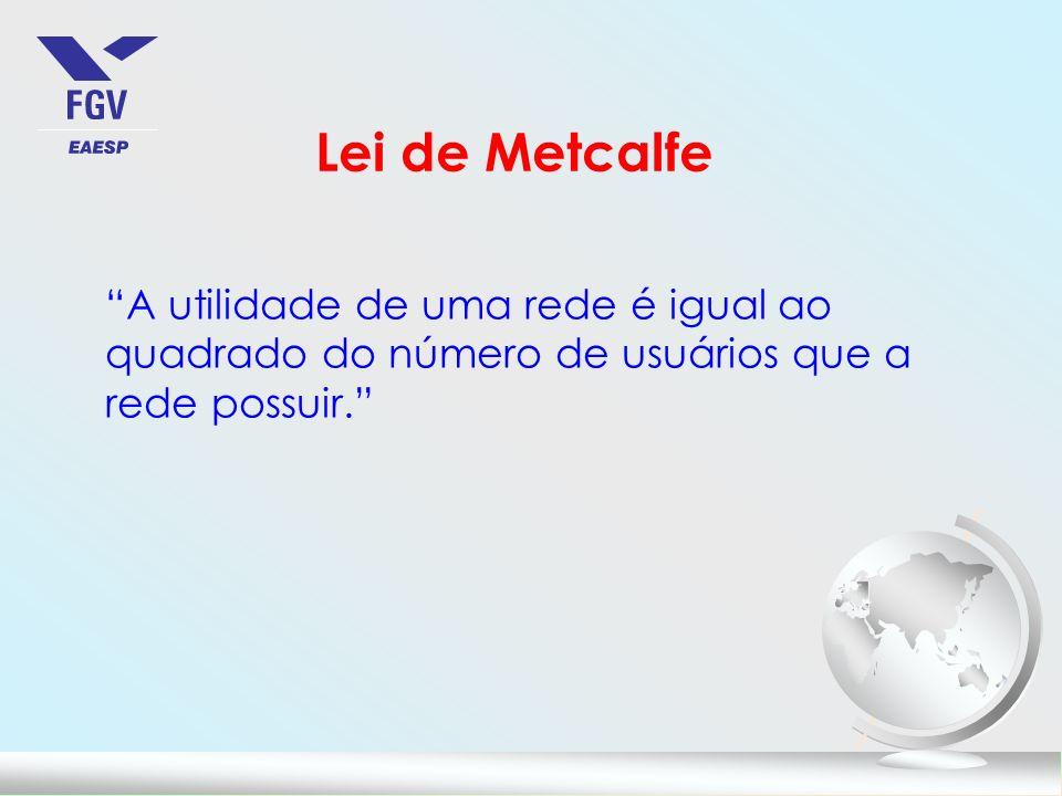 Lei de Metcalfe A utilidade de uma rede é igual ao quadrado do número de usuários que a rede possuir.