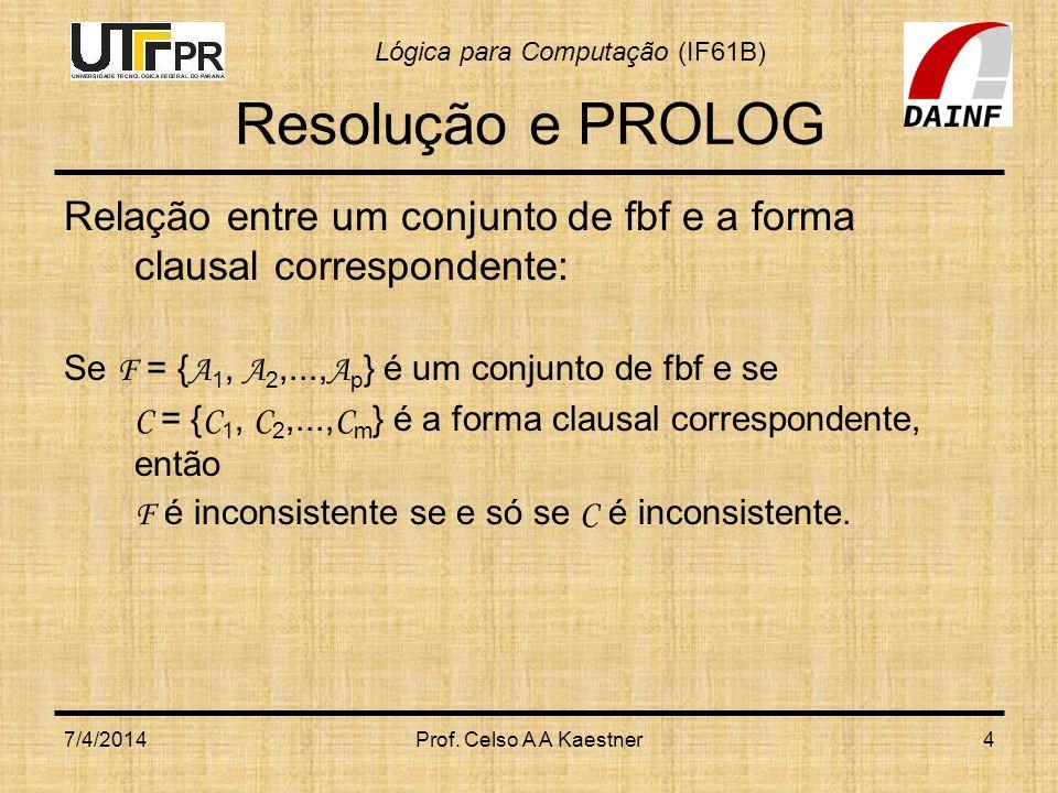 Resolução e PROLOGRelação entre um conjunto de fbf e a forma clausal correspondente: Se F = {A1, A2,...,Ap} é um conjunto de fbf e se.