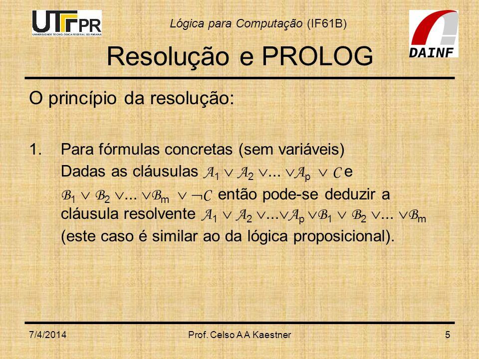 Resolução e PROLOG O princípio da resolução: