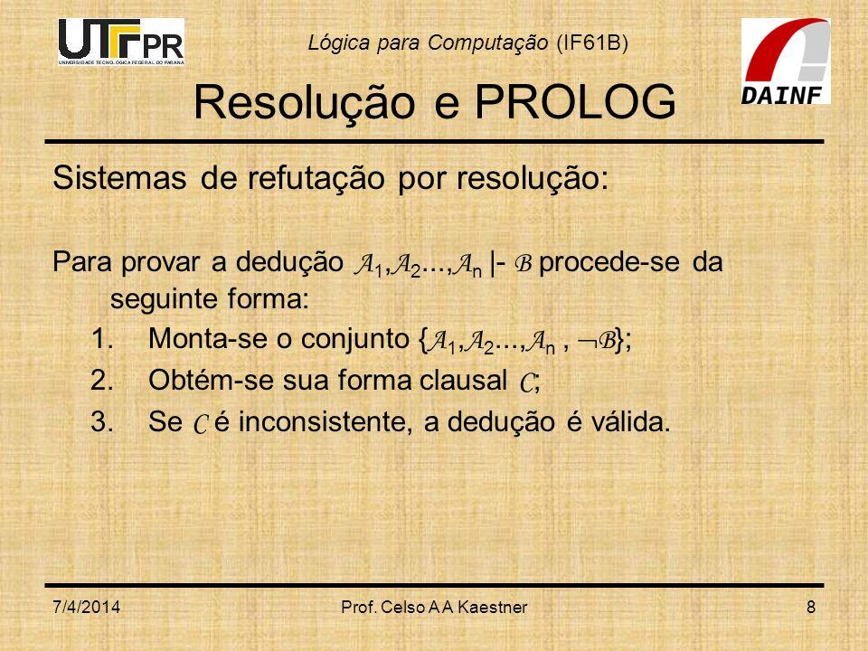 Resolução e PROLOG Sistemas de refutação por resolução: