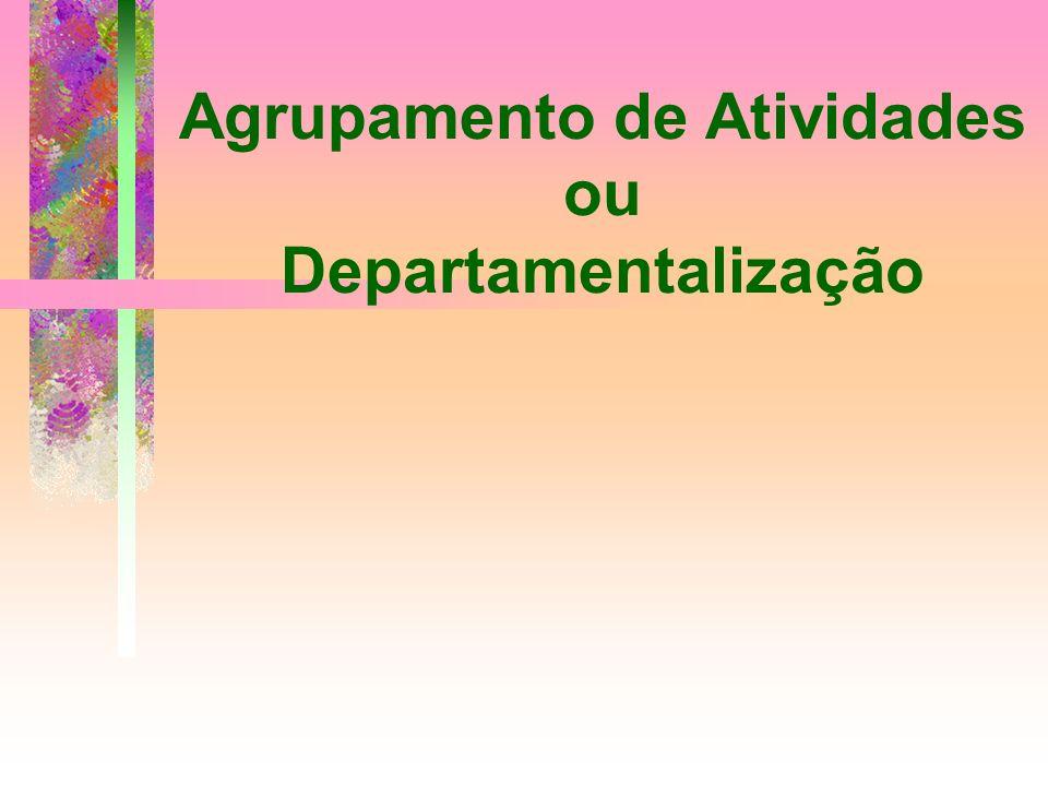 Agrupamento de Atividades ou Departamentalização