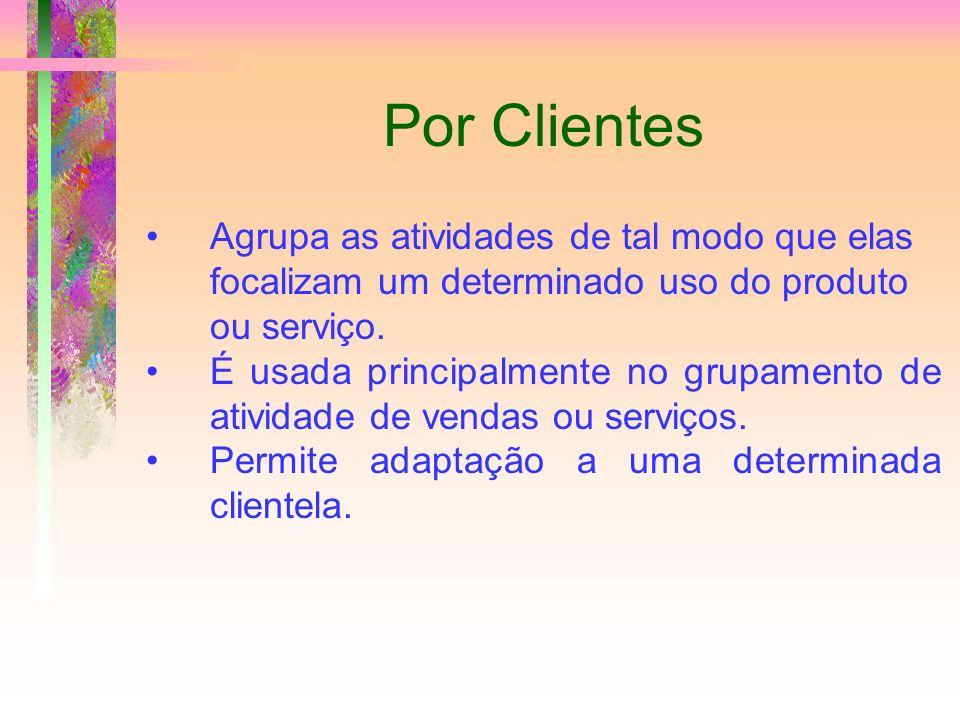 Por Clientes Agrupa as atividades de tal modo que elas focalizam um determinado uso do produto ou serviço.
