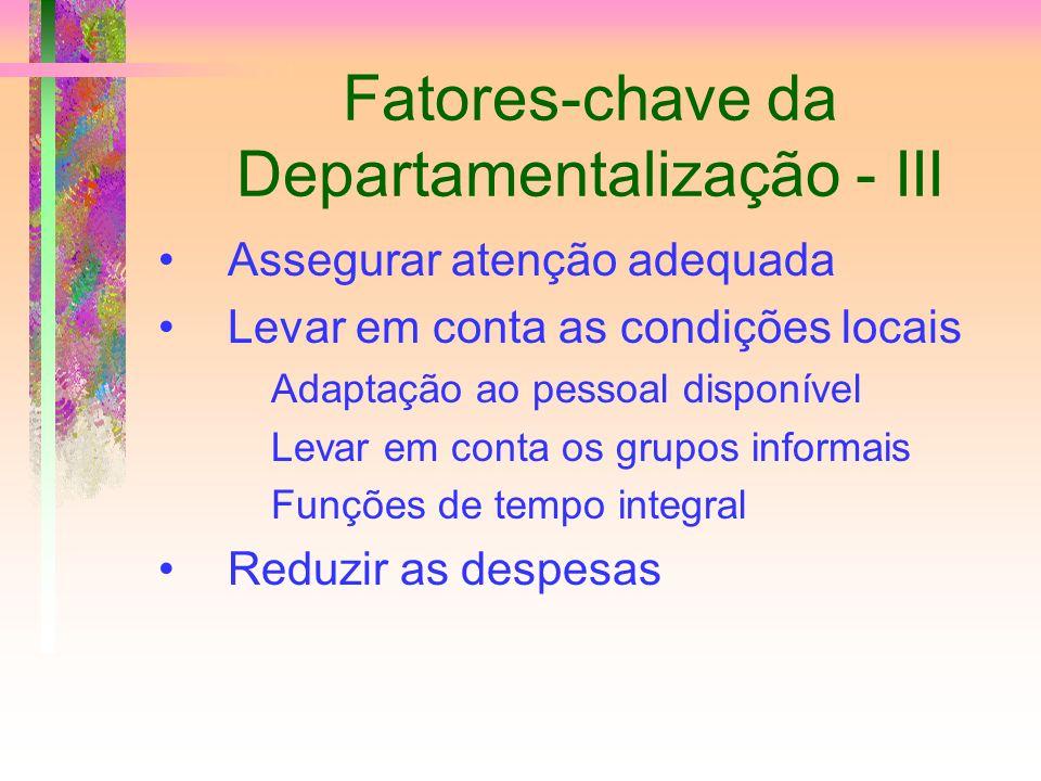 Fatores-chave da Departamentalização - III
