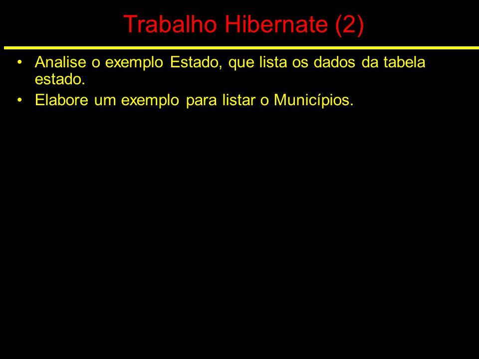 Trabalho Hibernate (2) Analise o exemplo Estado, que lista os dados da tabela estado.