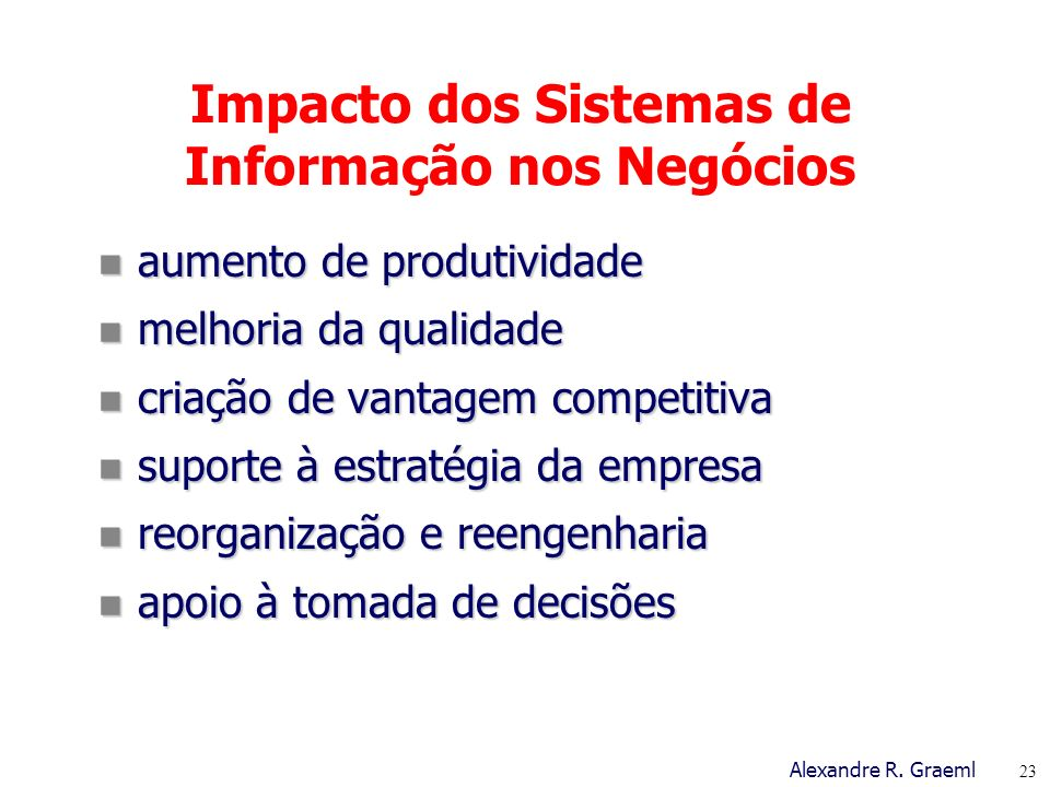 Impacto dos Sistemas de Informação nos Negócios