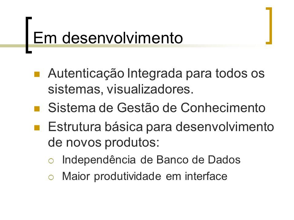 Em desenvolvimentoAutenticação Integrada para todos os sistemas, visualizadores. Sistema de Gestão de Conhecimento.
