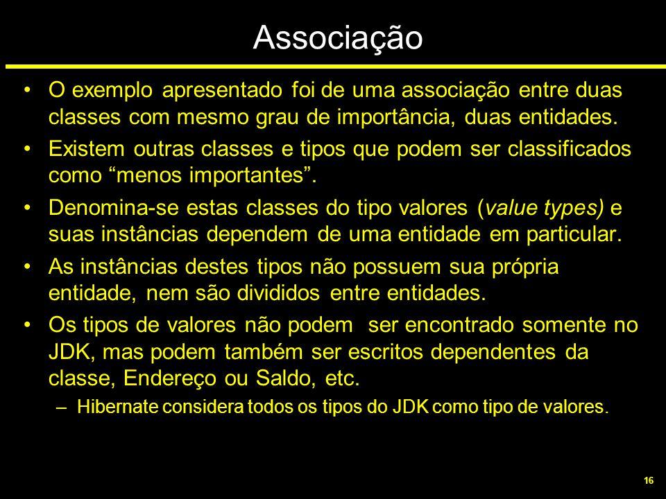 Associação O exemplo apresentado foi de uma associação entre duas classes com mesmo grau de importância, duas entidades.