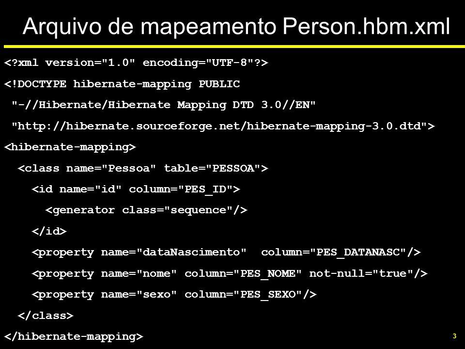 Arquivo de mapeamento Person.hbm.xml