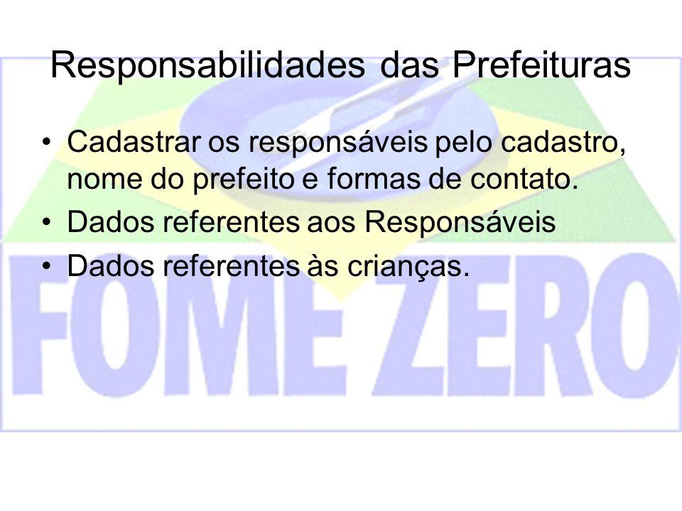 Responsabilidades das Prefeituras