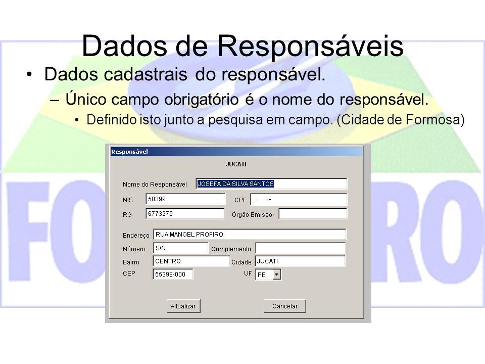 Dados de Responsáveis Dados cadastrais do responsável.