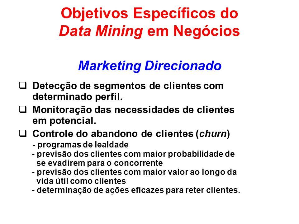 Objetivos Específicos do Data Mining em Negócios Marketing Direcionado