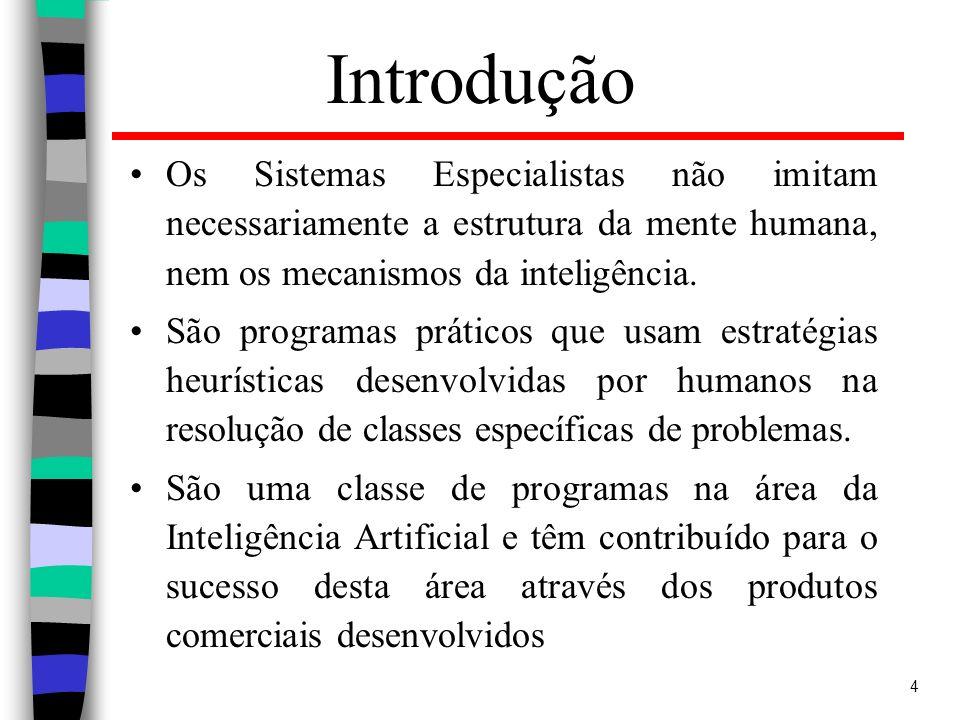 Introdução Os Sistemas Especialistas não imitam necessariamente a estrutura da mente humana, nem os mecanismos da inteligência.