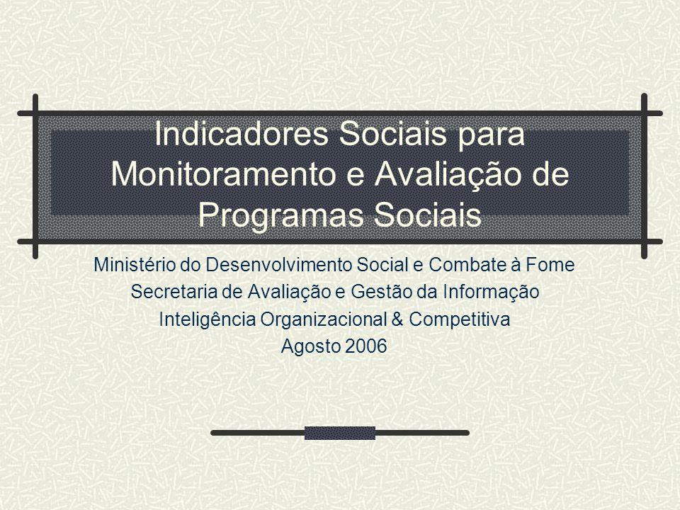 Indicadores Sociais para Monitoramento e Avaliação de Programas Sociais