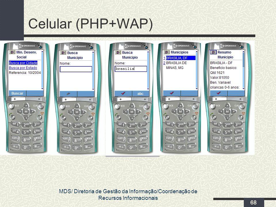 Celular (PHP+WAP) MDS/ Diretoria de Gestão da Informação/Coordenação de Recursos Informacionais