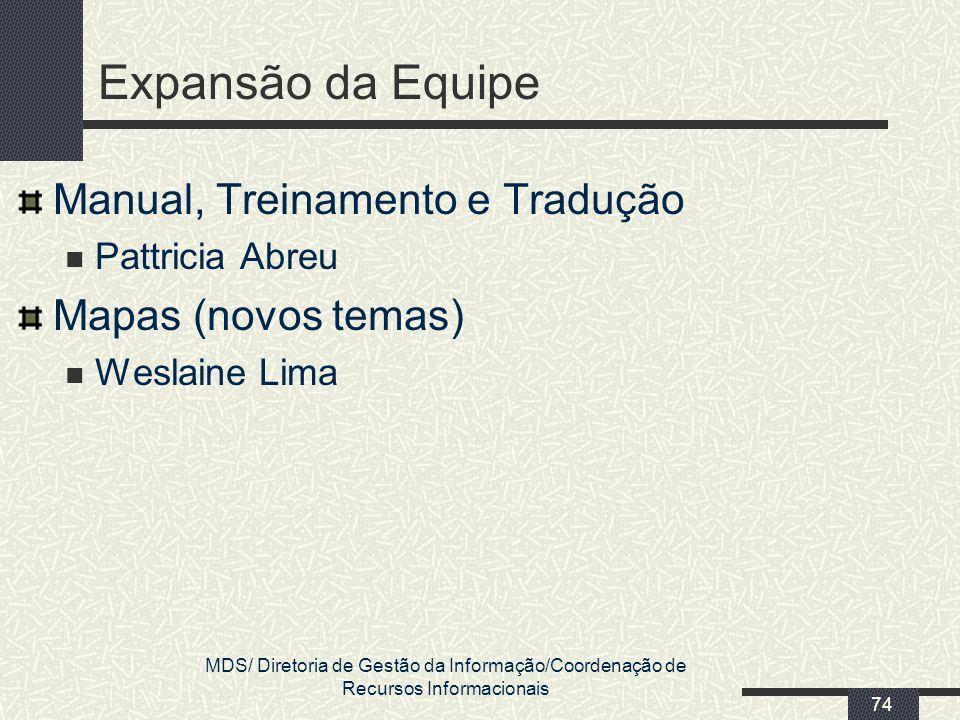 Expansão da Equipe Manual, Treinamento e Tradução Mapas (novos temas)