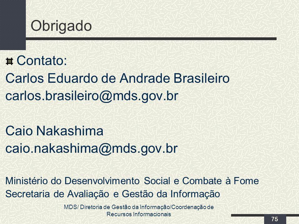 Obrigado Contato: Carlos Eduardo de Andrade Brasileiro