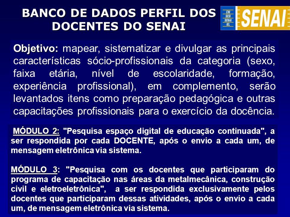 BANCO DE DADOS PERFIL DOS DOCENTES DO SENAI