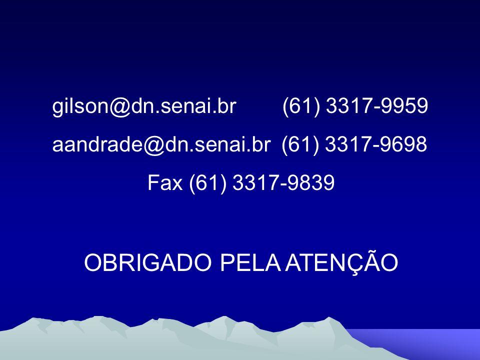 OBRIGADO PELA ATENÇÃO gilson@dn.senai.br (61) 3317-9959