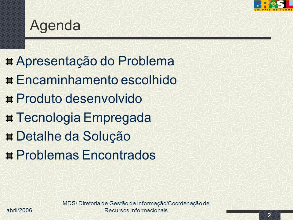 Agenda Apresentação do Problema Encaminhamento escolhido