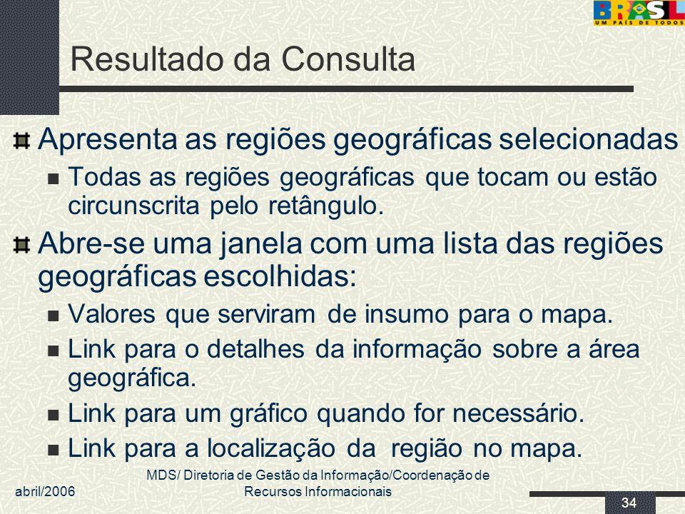 Resultado da Consulta Apresenta as regiões geográficas selecionadas