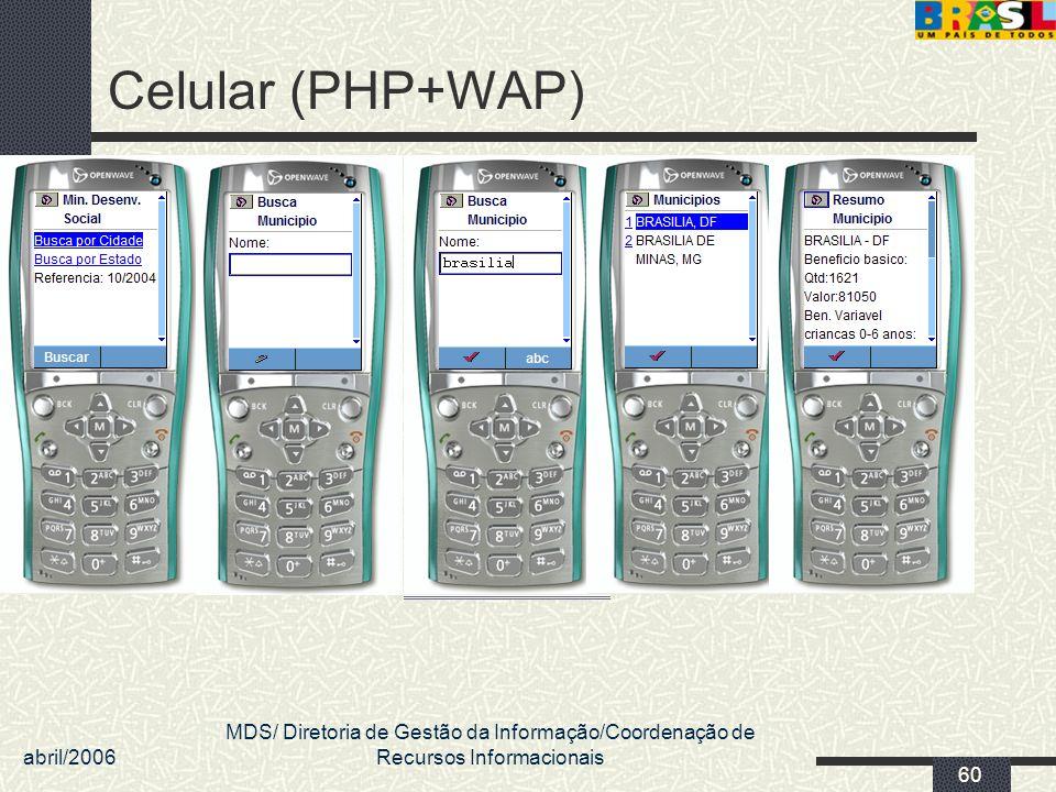 Celular (PHP+WAP) abril/2006.