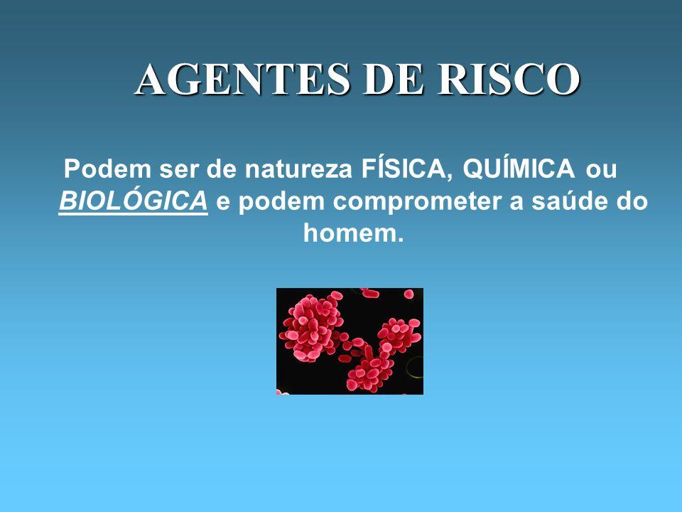 AGENTES DE RISCO Podem ser de natureza FÍSICA, QUÍMICA ou BIOLÓGICA e podem comprometer a saúde do homem.