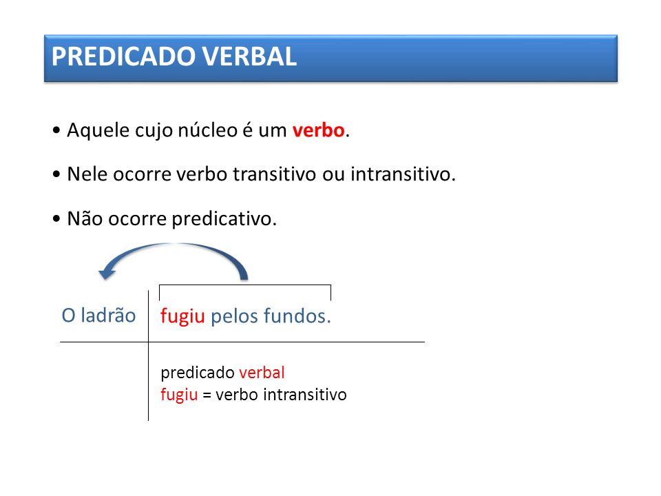 PREDICADO VERBAL • Aquele cujo núcleo é um verbo.