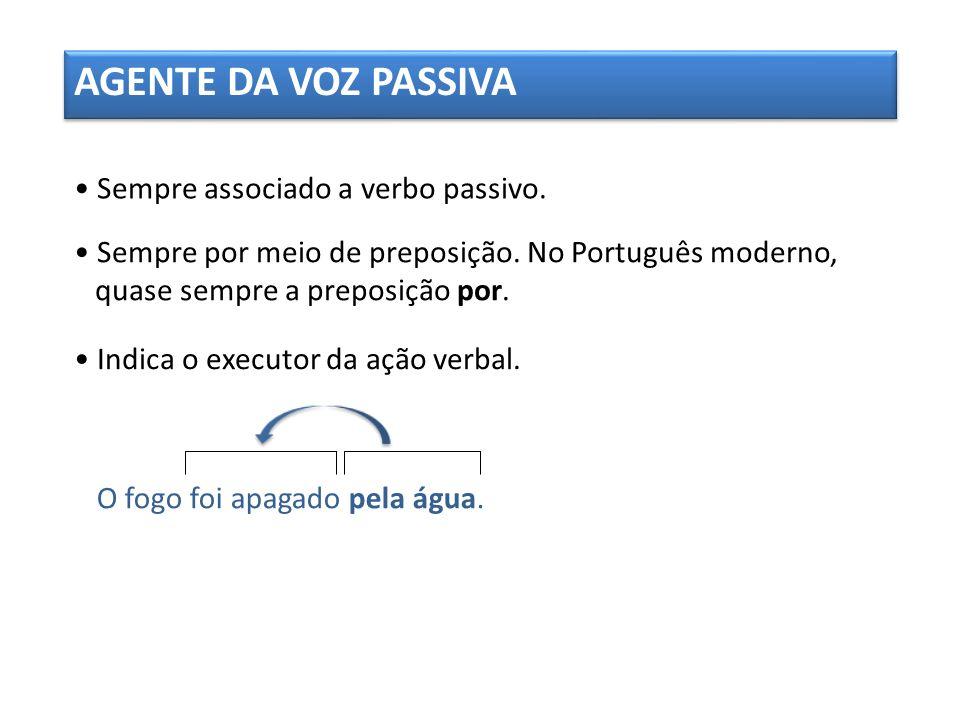 AGENTE DA VOZ PASSIVA • Sempre associado a verbo passivo.