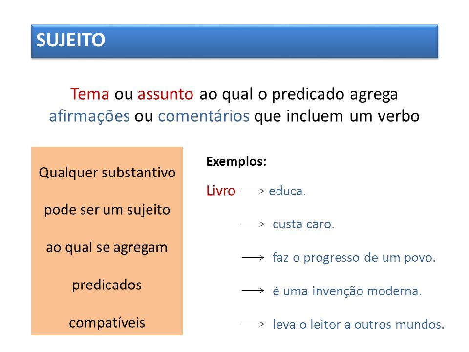 SUJEITOTema ou assunto ao qual o predicado agrega afirmações ou comentários que incluem um verbo.