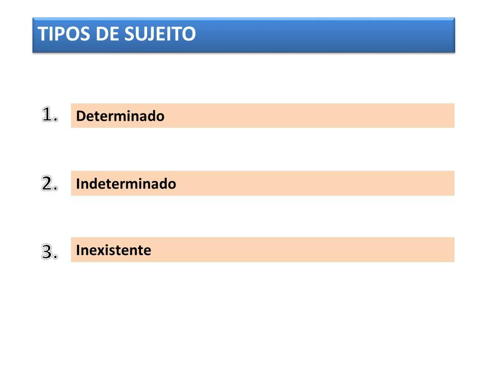 TIPOS DE SUJEITO 1. Determinado 2. Indeterminado 3. Inexistente