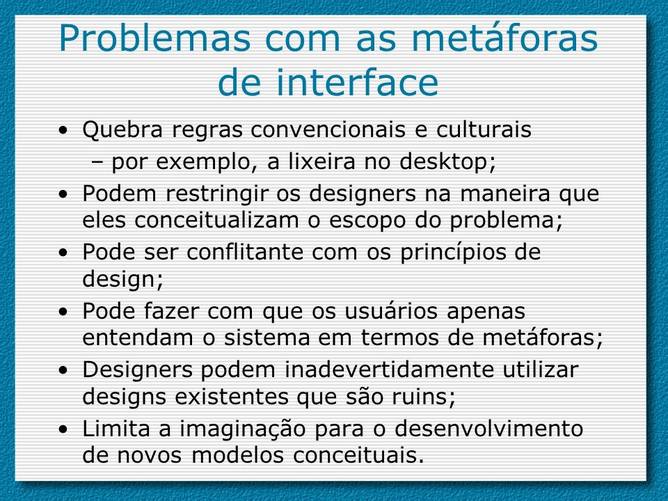 Problemas com as metáforas de interface