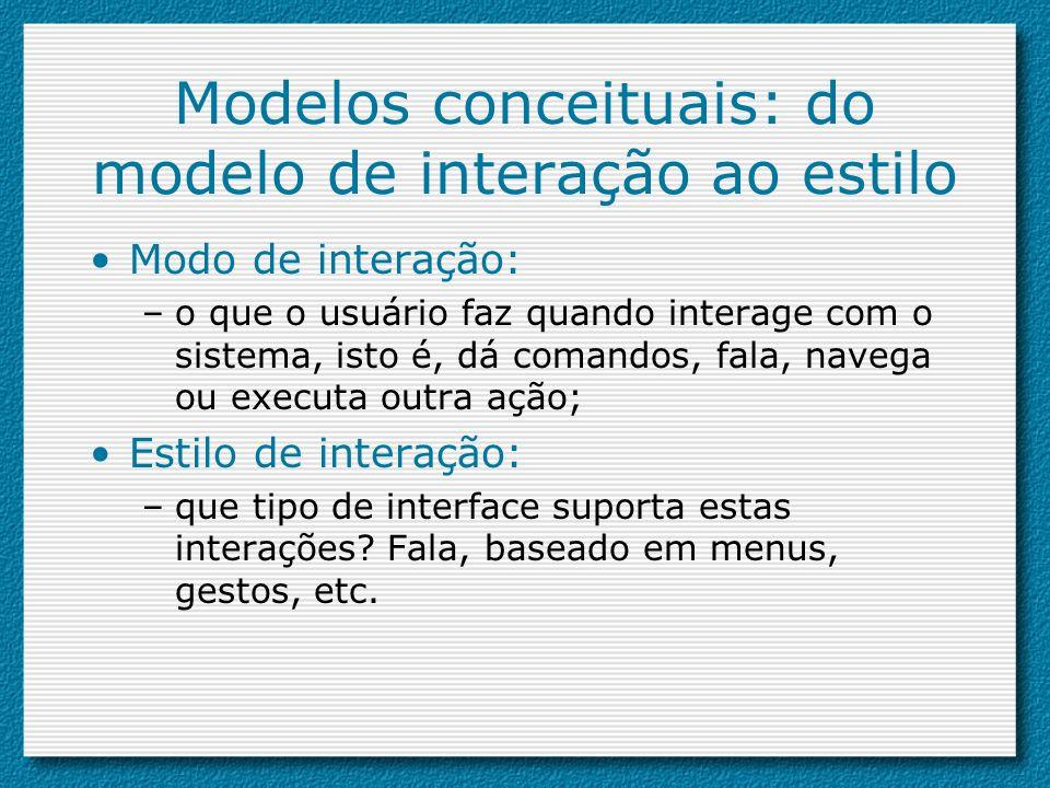 Modelos conceituais: do modelo de interação ao estilo
