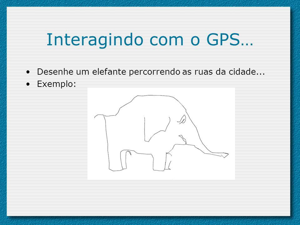 Interagindo com o GPS… Desenhe um elefante percorrendo as ruas da cidade... Exemplo: