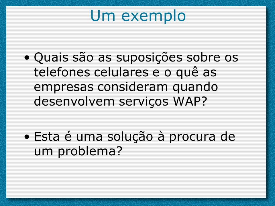 Um exemplo Quais são as suposições sobre os telefones celulares e o quê as empresas consideram quando desenvolvem serviços WAP