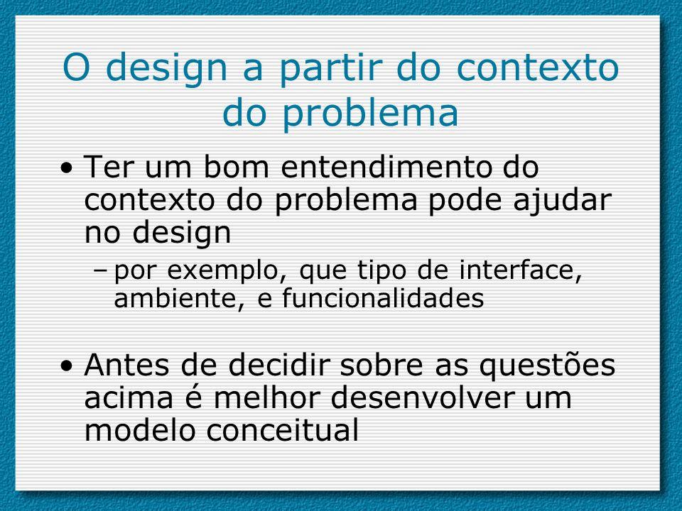 O design a partir do contexto do problema