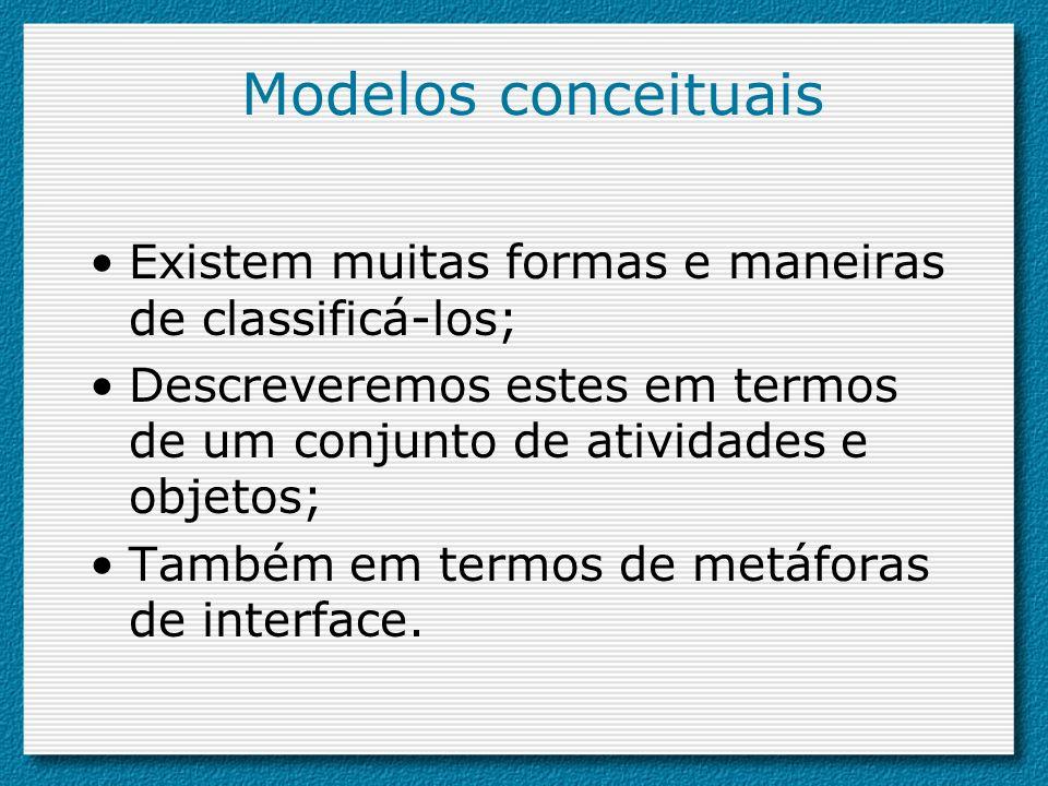 Modelos conceituais Existem muitas formas e maneiras de classificá-los; Descreveremos estes em termos de um conjunto de atividades e objetos;