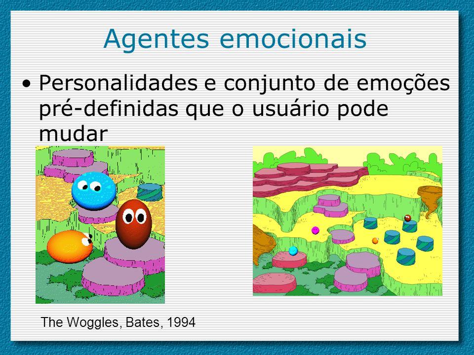 Agentes emocionais Personalidades e conjunto de emoções pré-definidas que o usuário pode mudar.