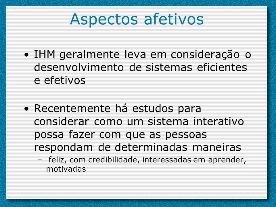 Aspectos afetivosIHM geralmente leva em consideração o desenvolvimento de sistemas eficientes e efetivos.