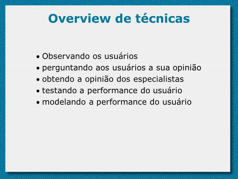 Overview de técnicas Observando os usuários