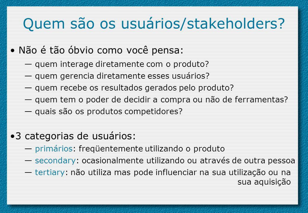 Quem são os usuários/stakeholders